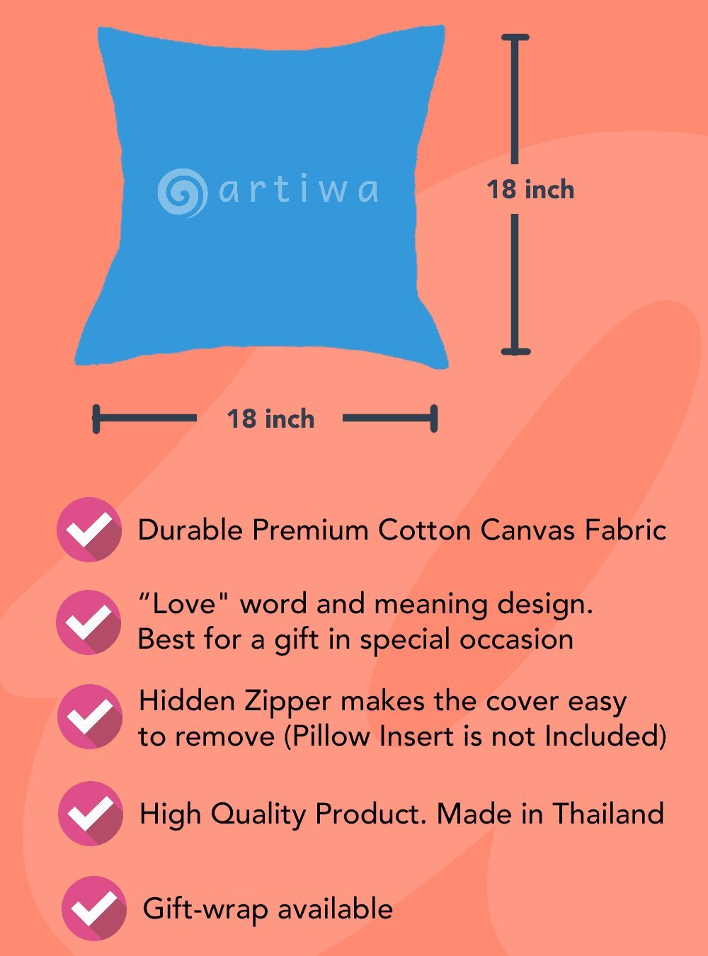 Amazon.com: artiwa Amor Significado 18 x 18 Lienzo algodón ...