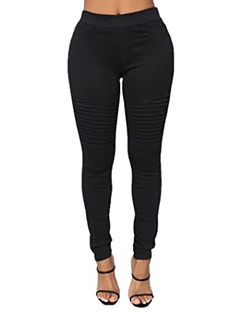 Pantalon Stretch Femme avec Taille Elastique Pantalons Tregging Slim  Couleur uni à La Mode(Noir 9ac7897c8c0