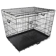 """AMPERSAND SHOPS Pet Dog / Cat / Rabbit Collapsible Metal Crate with Tray and Divider (42"""" x 28"""" x 31"""")"""