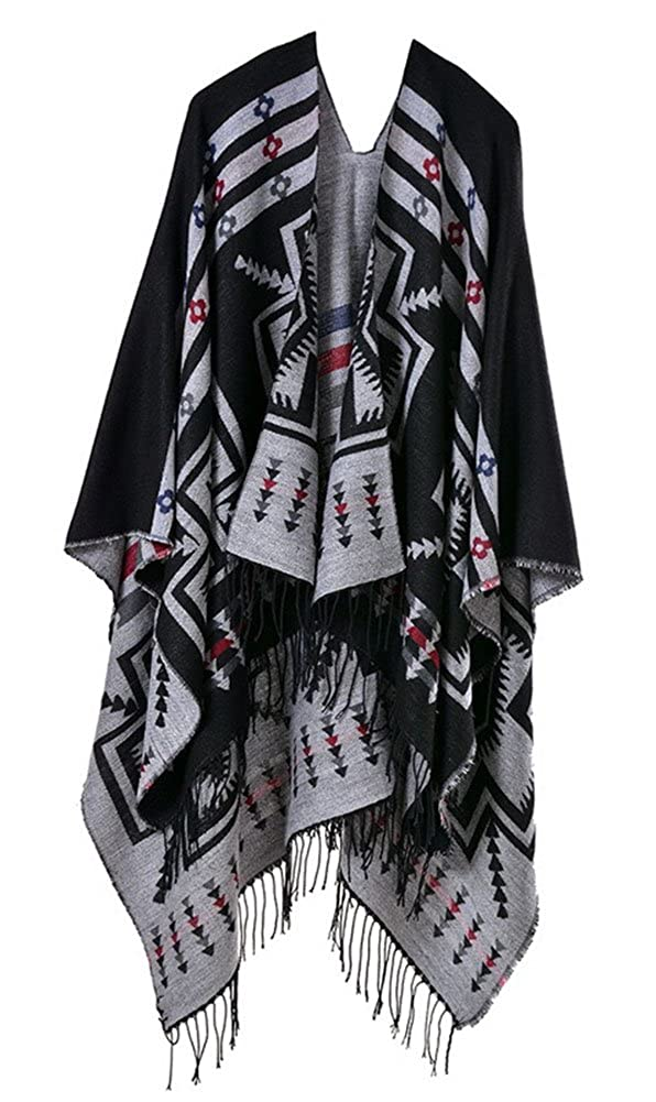 Women Winter Knitted Tassel Poncho Capes Shawl Cardigans Sweater Coat