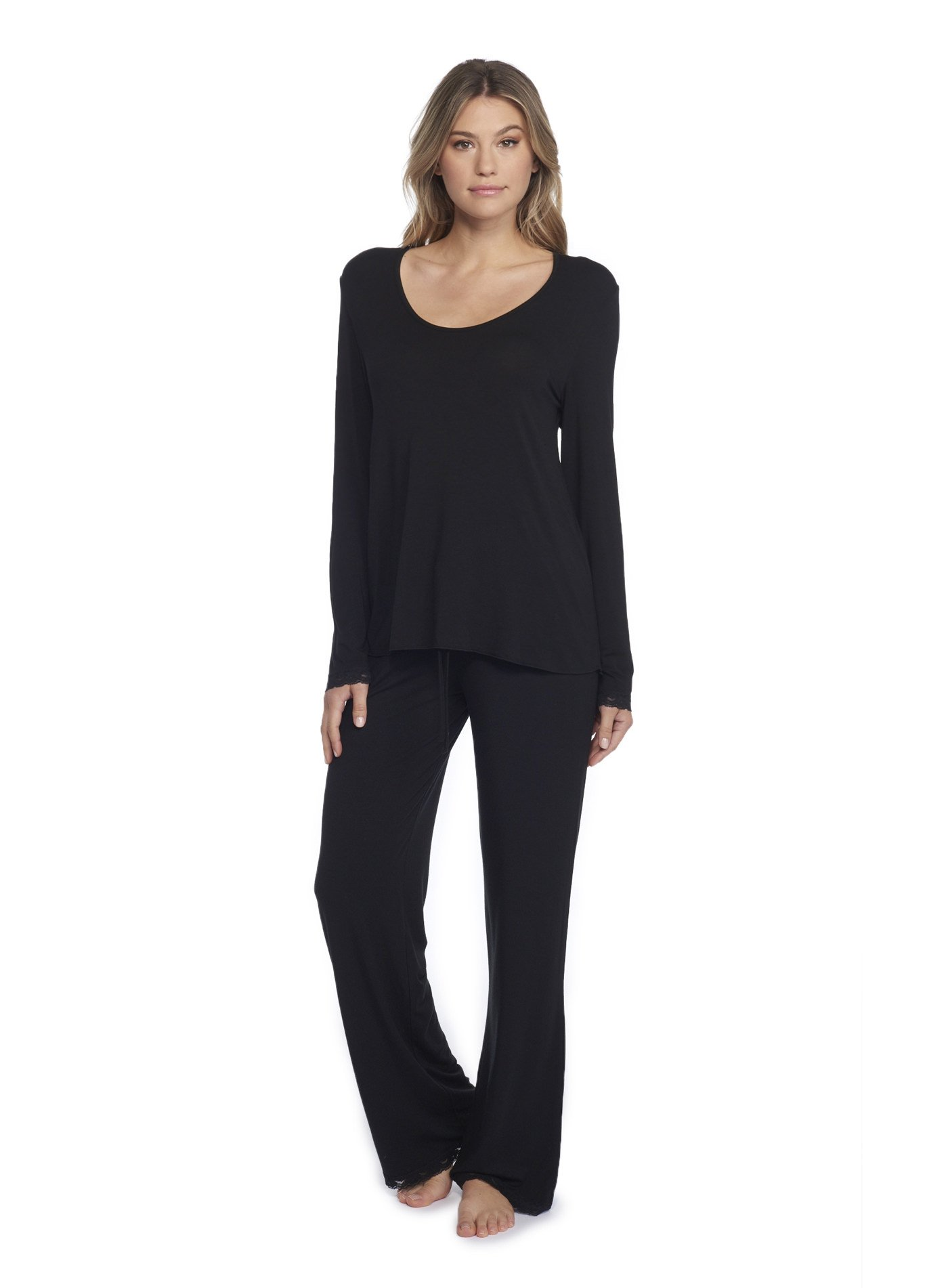 Barefoot Dreams Luxe Milk Jersey Classic Pant & U-Neck Long Sleeve Tee Set Black, X-Large