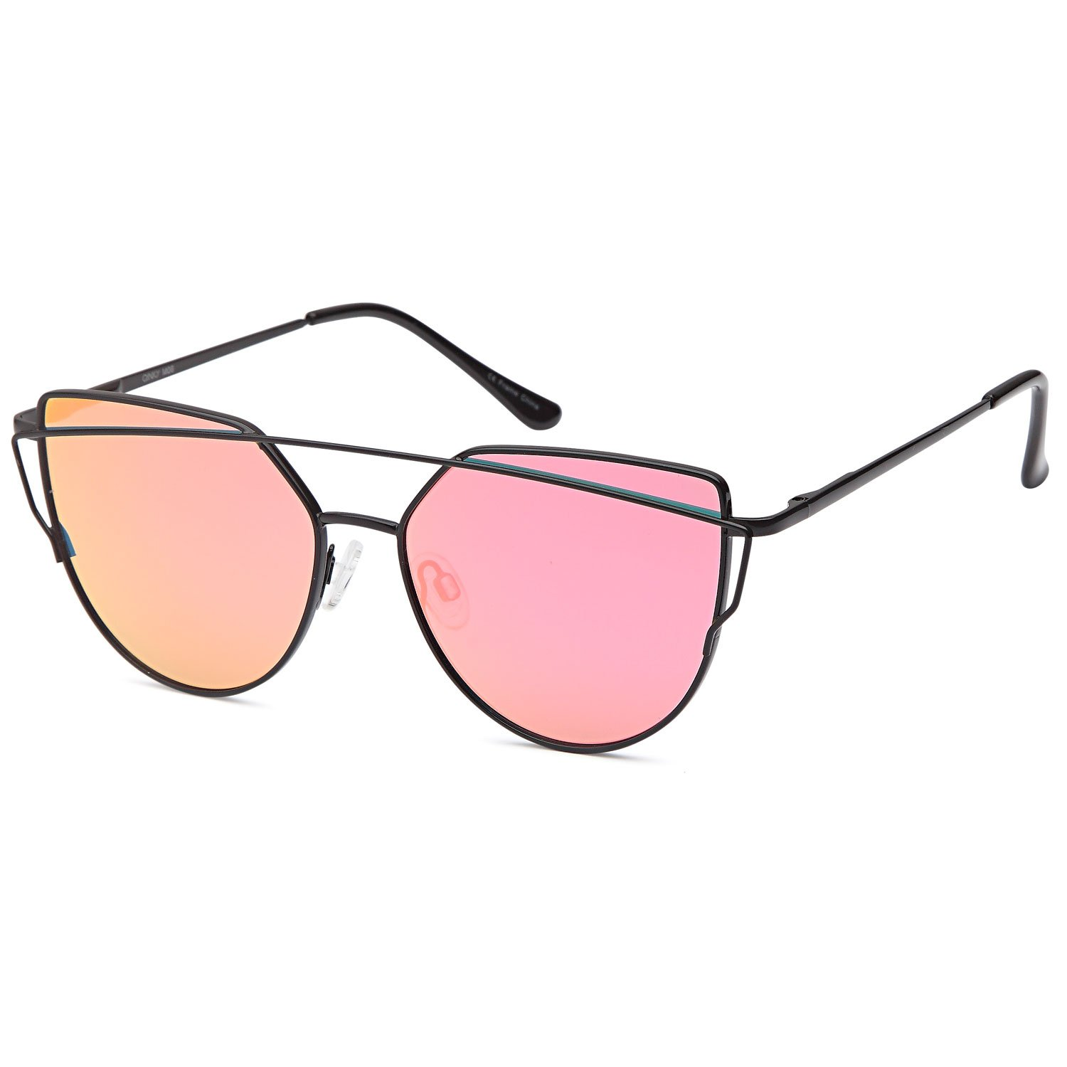 QINKY Womens Cateye Aviator Metal Frame Cross Bar Sunglasses with Mirror Flash Flat Lens - Choose Your Variation