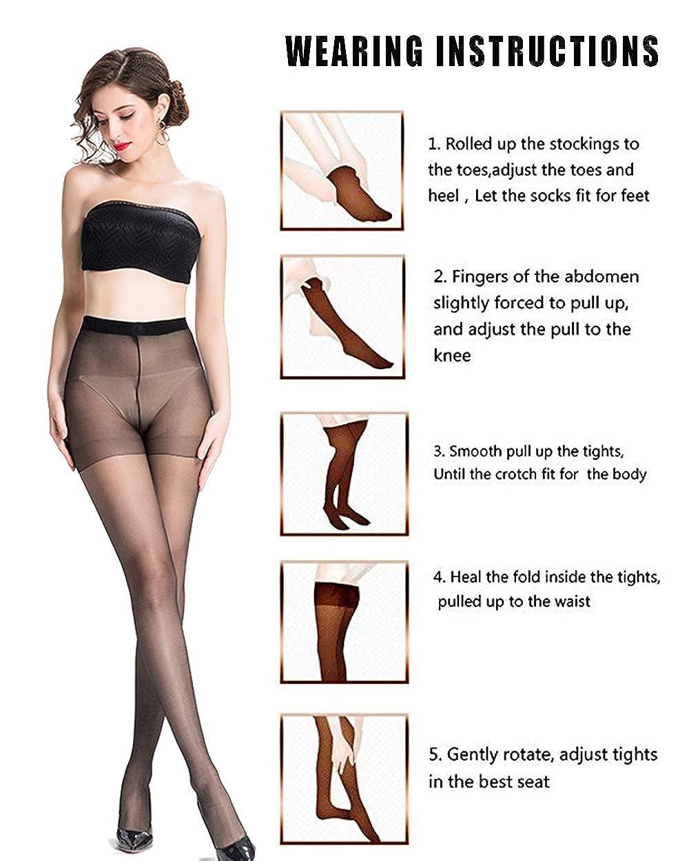71eadb01e Pantyhose for Women Sheer Stockings 3 pairs Full Length with Comfort Stretch  and Diy Cutting 15 Denier (Medium