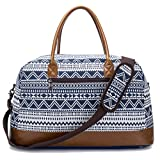 Weekender Duffel Bag for Women Mens Canvas Overnight Travel Carry-on Tote Bags (Blue)