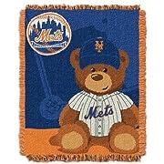 MLB New York Mets Field Bear Woven Jacquard Baby Throw, 36  x 46