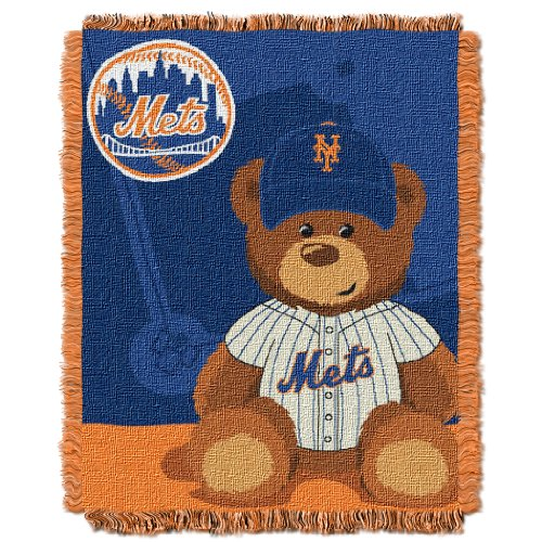 Ny Mets Throw (MLB New York Mets Field Bear Woven Jacquard Baby Throw, 36