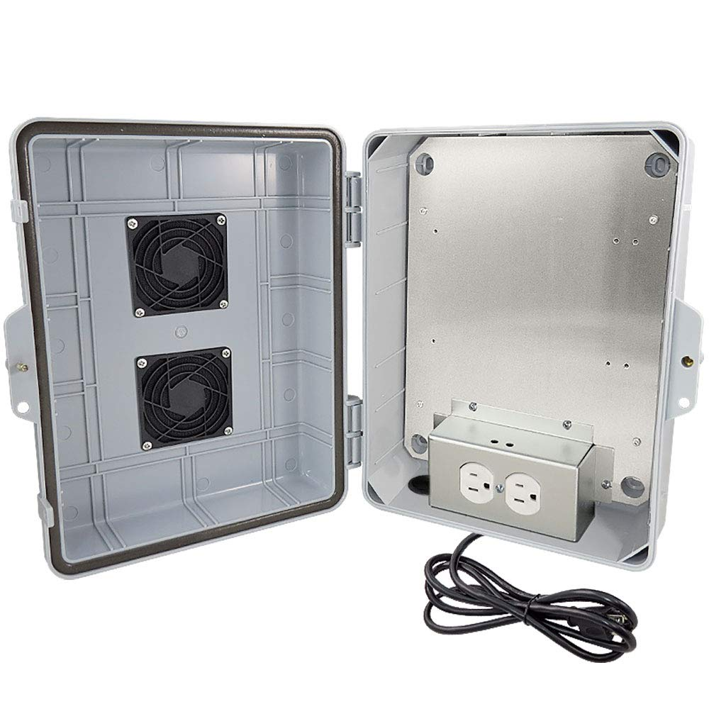 """Altelix NEMA Enclosure 14x11x5 (9.5"""" x 8"""" x 4"""" Inside Space) Polycarbonate + ABS Weatherproof with Aluminum Equipment Mounting Plate, Pre-Wired 120 VAC Outlets, 5 Foot Power Cord"""