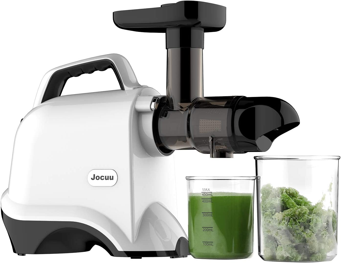 Jocuu Juicer Machines, Slow Masticating Juicer Extractor Easy to Clean, Cold Press Juicer with Quiet Motor, Reverse Function, BPA-Free, with Brush and Recipes, for Fruits and Vegtables, White