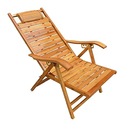925a28e391b0 Amazon.com : Cozy Deck Chair Beach Yard Pool Folding Reclining Adjustable  Chaise Bamboo Lounge Chair Indoor or Outdoor Relax Chair (Color : Bamboo B)  ...