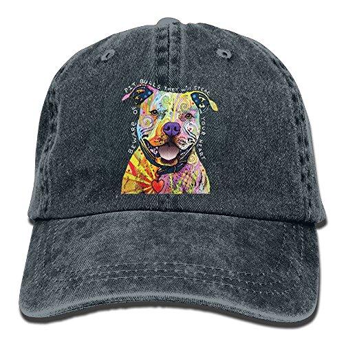 Beware Of Pit Bulls Adult Jean Hat For Boy Girl Unisex,Boy's Girls HipHop (Pit Bull Girl)