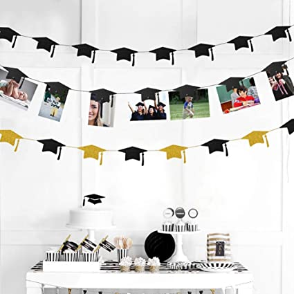 36pc Graduation Cap Garland and Magnet Photo Clip String Kit for Congrats  Grad Party Decorations Centerpiece Gold Black Hanging Hat Cutouts Photo