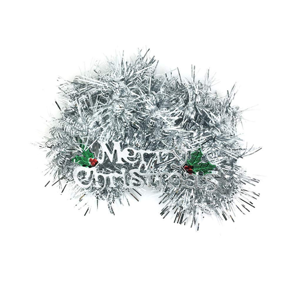 Chezaa Christmas Party Tree Tinsel Decorations Snowy Tinsel Garland Soft Tinsel Christmas Tree Ceiling Hanging Decorations for Holiday Birthday (Silver)