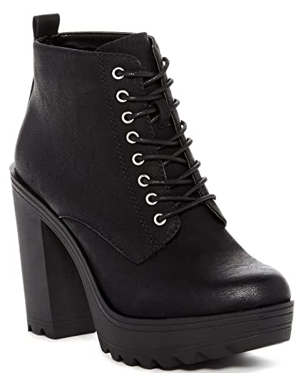 Wrenn Womens Fashion Faux Fur-Lined Lace-Up Booties