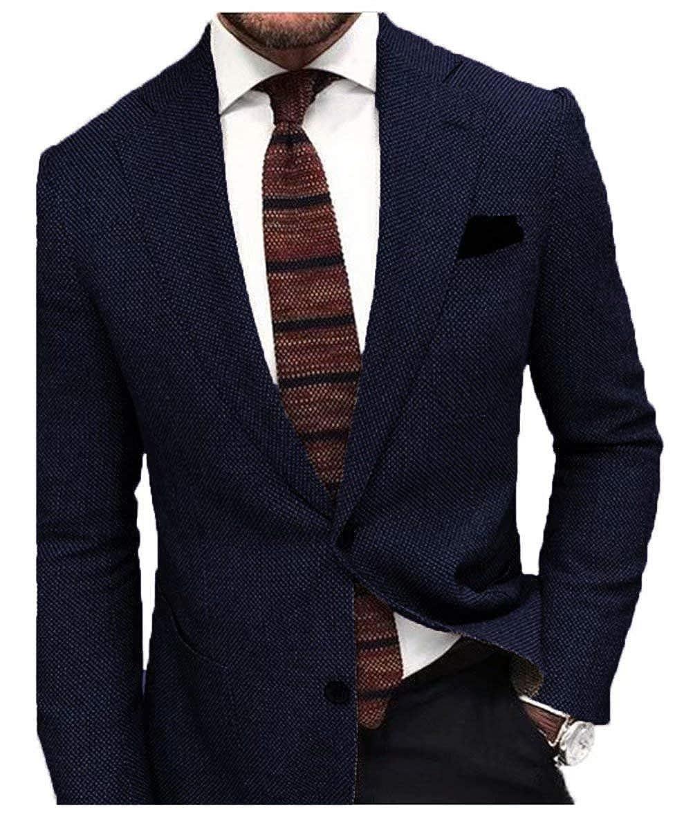 6b8bc6934 Jingmo Tweed Two Button Slim Fit Blazer Suit Jacket Men's Tuxedo ...