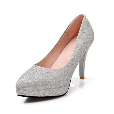 18b32a06c98 BalaMasa Womens Pull-on Solid High-Heels Silver Soft Material Pumps-Shoes -