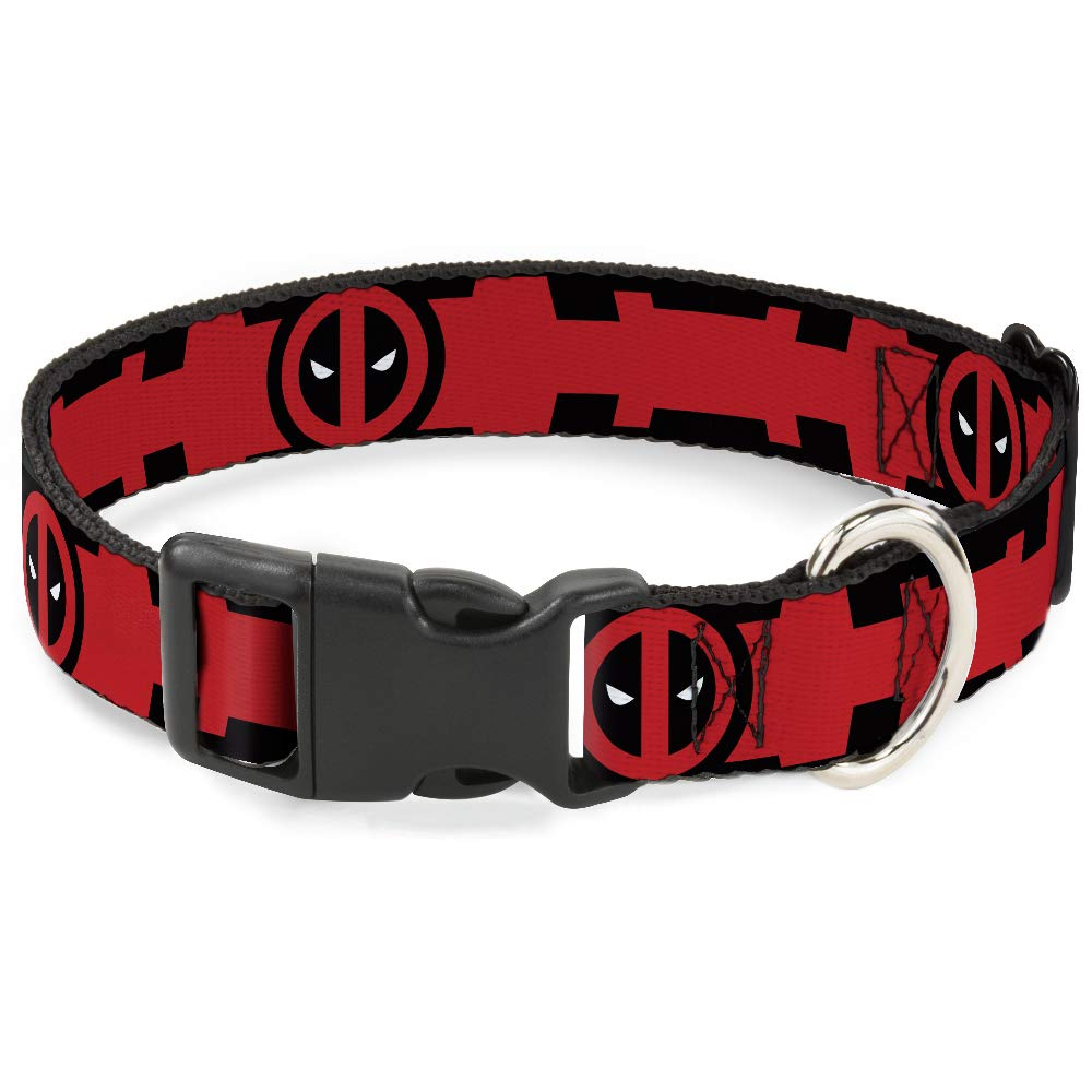 Buckle-Down Deadpool Logo Black//Red//White Breakaway Cat Collar 1//2 x 9-15//Large