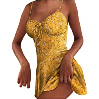 DressLksnf Vestido Mujeres Impresión de Lunares con Encaje de Tirantes Finos Vestir de Playa Cuello en v Fuera del…