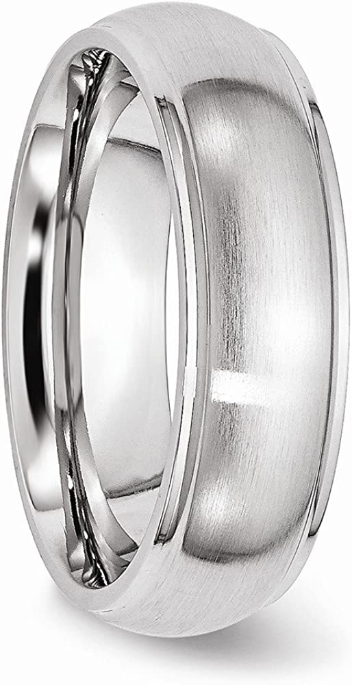 Wedding Bands Classic Bands Domed Bands w//Edge Cobalt Satin and Polished 7mm Ridged Edge Band Size 11.5