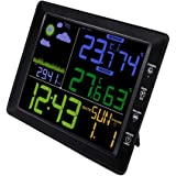 BESPORTBLE 1PC Indoor Digital Display Weather Station Wireless Weather Clock Thermometer Temperature Homeuse/etc No Battery Include Black