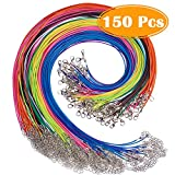 "Paxcoo 150PCS 1.5mm Waxed Cotton Necklace Cord Bulk with Clasp for DIY Jewelry Making, Mix Color (18"")"