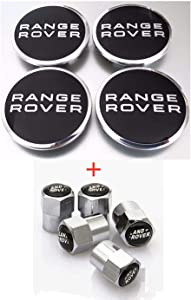 Health mall 4 Pcs 63mm Wheel Hub Center Cover and Tire Valve Stem Air Caps Cover Combo Black Logo Chrome Tire Stem Valve Caps for Apply to Range Rover