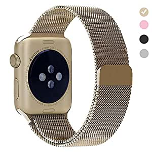 Replacement 38mm Band for Apple Watch Stainless Steel Strap Bracelet for iwatch Series 1 2 3 with Magnetic Clasp-Gold