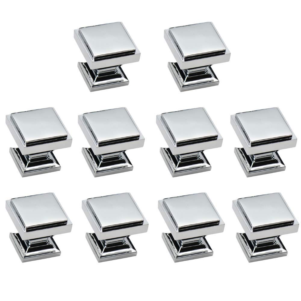 10 Pack - Aviano Cabinet Hardware Modern Zane Square Knob - 1-1/8'' - Chrome