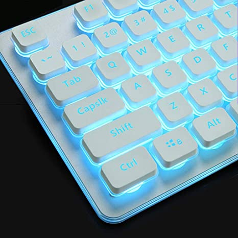 Color : Black OFNMD Retro Light up Ultra-Thin Keyboard,Round Keycaps Rainbow Backlit Soft Tactile Natural Ergonomic Steampunk Spill-Resistant Gaming Keyboard QWERTY Key