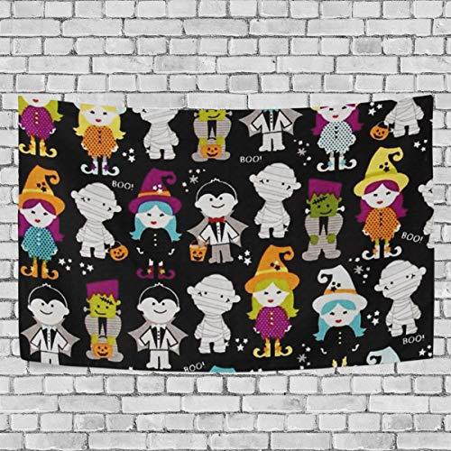 FindFD Halloween Magic Parade Black Tapestry Wall Hanging Decor Tapestries Wall Art Dorm Decor Headboard Home Decor for Bedroom Dorm Living Room,90hH x 60hW]()