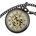 Carrie Hughes Men's Open face Bronze Steampunk Gold Skeleton Mechanical Pocket Watch with Chain Best Gift 10