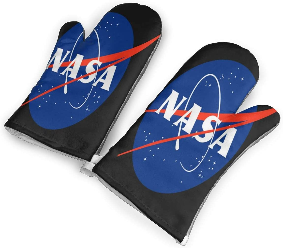not NASA Oven Mitts with Polyester Fabric Printed Pattern,1 Pair of Heat Resistant Oven Gloves for Cooking,Baking,Grilling,Barbecue Potholders