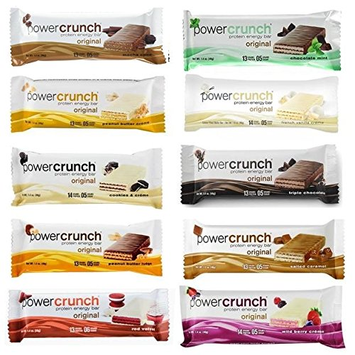 Power Crunch Original Protein Bars, 1.4-Ounce Bars (Total of 10 bars), Variety Pack of all 10 Flavors