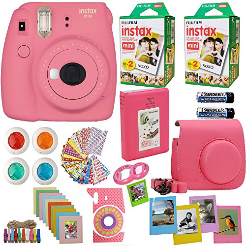 Fujifilm Instax Mini 9 Instant Camera Flamingo Pink + 2X Fuji Instax Film Twin Pack (40PK) + Pink Camera Case + Frames + Photo Album + 4 Color Filters and More Top Accessories Bundle
