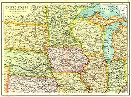 Amazoncom Usa Midwest United States Physical Showing Railways - Map-of-us-midwest-states