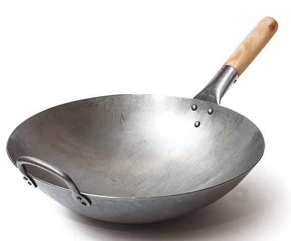 Wok tradicional de acero de carbono forjado a mano, con mango auxiliar de madera y acero (diámetro 35,6 cm, fondo redondo)/731W88, de Craft Wok