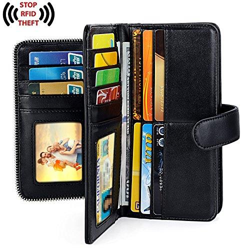 UTO Women PU Leather Wallet RFID Blocking Large Capacity 15 Card Slots Smartphone Holder Snap Closure New Black by UTO (Image #3)