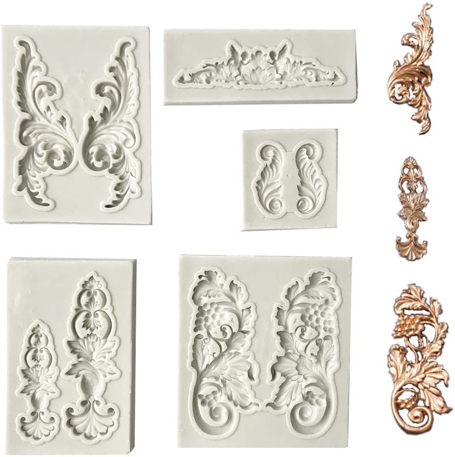 Juland 5 PCS Silicone Fondant Cake Mold Baroque Style Curlicues Scroll Mold for Sugarcraft, Cake Border Decoration, Cupcake Topper, Jewelry, Polymer Clay, Crafting Projects – Gray S Size