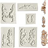 Juland 5 PCS Silicone Fondant Cake Mold Baroque Style Curlicues Scroll Mold for Sugarcraft, Cake Border Decoration…