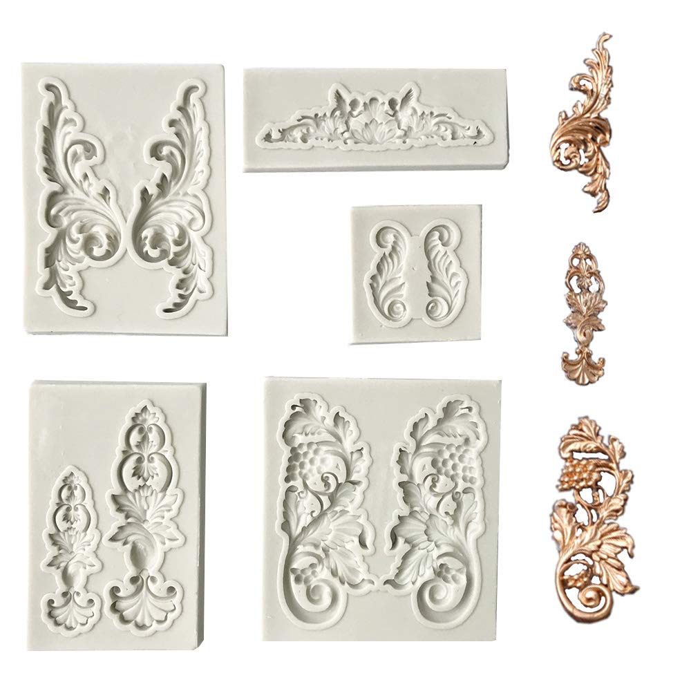 Polymer Clay Crafting Projects Jewelry Juland 5 PCS Silicone Fondant Cake Mold Baroque Style Curlicues Scroll Mold for Sugarcraft Cupcake Topper Gray Cake Border Decoration