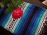 Galaxy Reborn Mexican Blanket Handwoven 82 x 54 XLarge Heavyweight Falsa in Caribbean Blue Beachy Throw