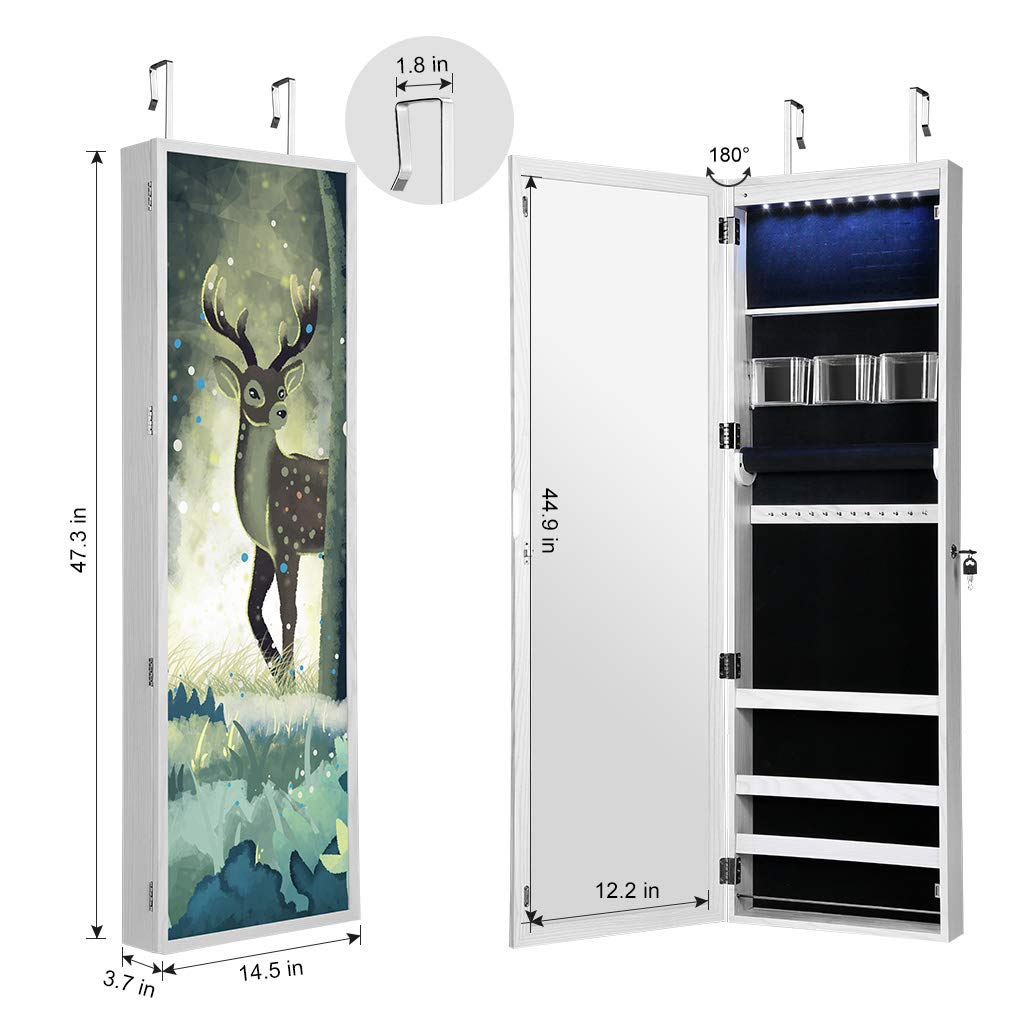 LANGRIA 8 LEDs Jewelry Cabinet Mirror with 3D Magnetic Forest Picture Frame Lockable Wall-Mounted Over-The-Door Design for Makeup and Jewelry Organizer Storage