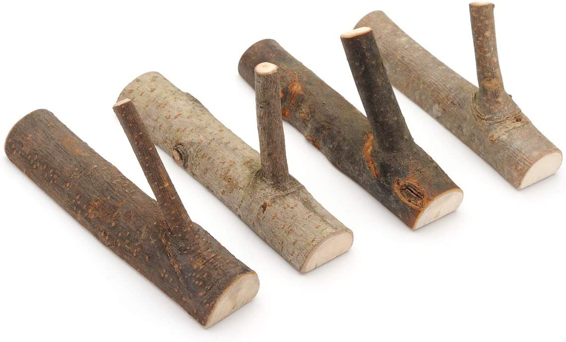 Pack of 4 Vintage Real Wood Tree Branch Wall Hook,Rustic Decorative Wood Adhesive Hooks. Key Holder, Coat Hook,Strong Suction Hooks.(Width 2cm-3cm)