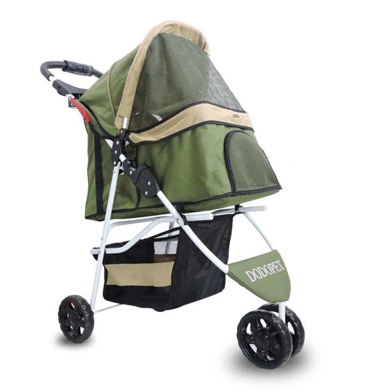 Zqcwc Passeggino per Animali di Piccola Taglia Passeggino per Gatti Passeggino per Gatti Passeggino per Grammi Puppy Jogger Carrier 3 Ruote (colore   verde)