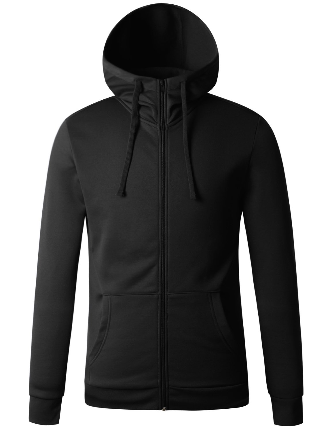 Regna X for Mens Zipped Hooded Lined Lining Black Medium Fleece high Neck Jacket by Regna X
