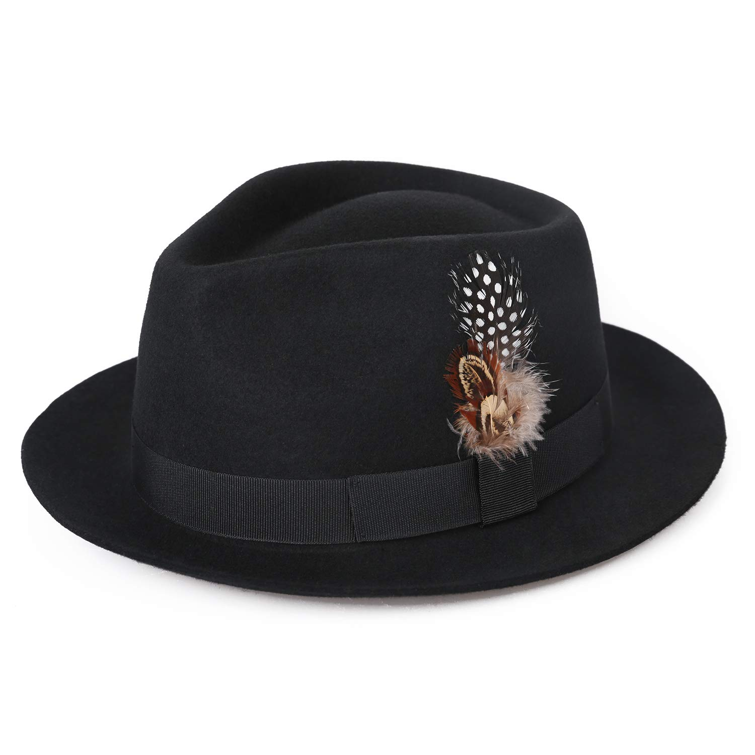 12c91bca7ad8c Deevoov Men Fedora Hats with Feather Australia Wool Felt Trilby Hat at  Amazon Men s Clothing store