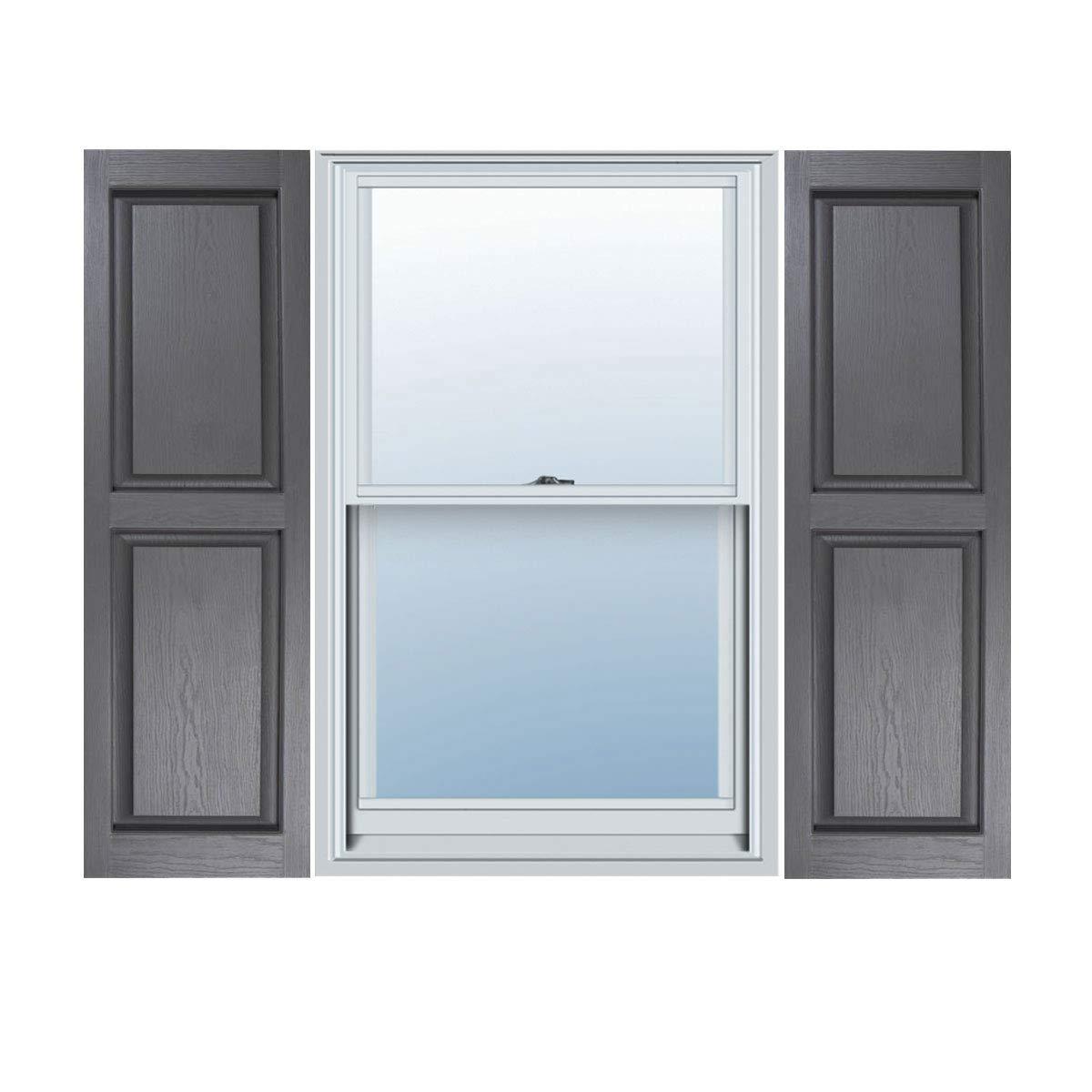 14 1/2'' x 74'' Builders Choice Vinyl Raised Panel Window Shutters, w/Shutter Spikes & Screws (Per Pair), Grey by ArchitecturalDepot.com