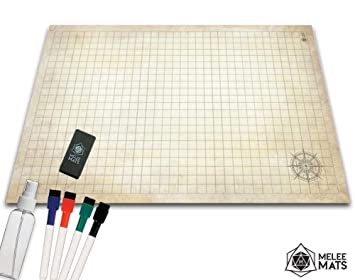 Battle Grid Game Mat - 24x36 ULTRA DURABLE POLYMER MATERIAL - Role Playing  DnD Map - Reusable Tabletop Square Mats - RPG Dungeons and Dragons Dry