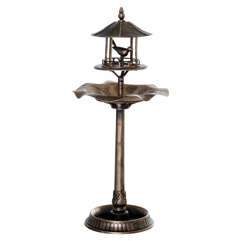 Outsunny 3-in-1 Resin Garden Pedestal Bird Bath Bowl Feeder Planter - Bronze