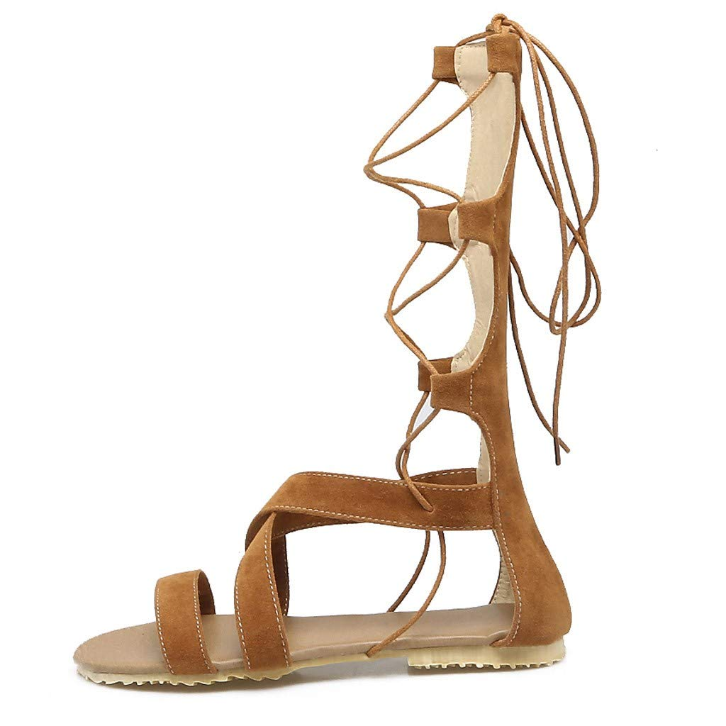 Women's Flat Sandals Summer Open-Toe Knee High Gladiator Lace Up Criss Cross Strappy Roman Shoes (US:5, Yellow)