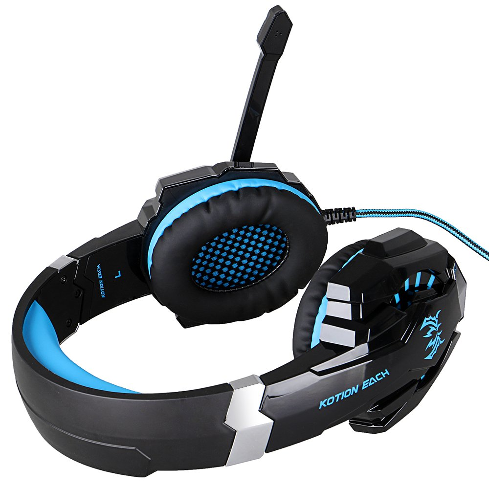 KOTION EACH G9000 USB 7.1 Surround Sound Version Game Gaming Headphone Computer Headset Earphone Headband with Microphone LED Light Blue&Black
